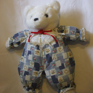 Country Teddy Bear White 21 Inches Tall